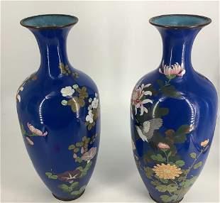 2 Large Antique Meiji period blue cloisonné enamel
