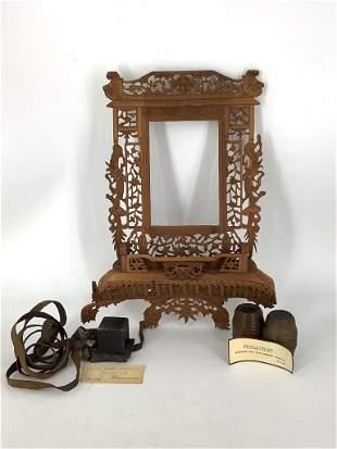 Lot including ornately carved frame ( some damage),