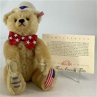 """Steiff """"First American Teddy†in original box &"""