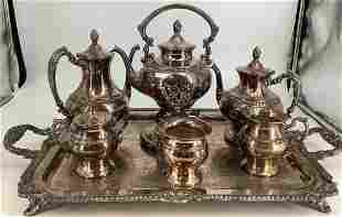 7 piece silver on copper tea and coffee set with tray.