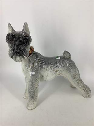 Large ceramic dog statue signed Haly on the foot, crack