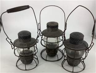(3) railroad lanterns. 1 marked B & O RR. One with