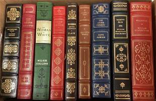 Lot of nine leather bound books including Pride and