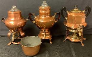 Lot of four copper items including three copper coffee