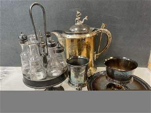 Box lot silverplate including Victorian coffee pot with