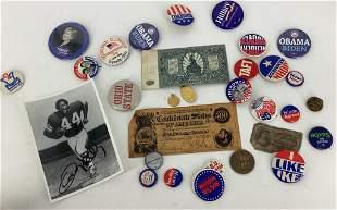 Lot of political buttons and civil war era 10 cent