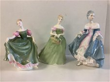 """3 Royal Doulton figurines including """"Clarissaâ€,"""