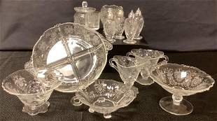 Lot 13 pieces of Heisey Orchid Etched 9†round relish