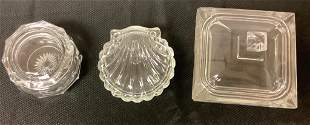 Lot of Heisey 2 candy dishes and covered powder jar,