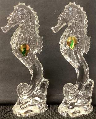 Lot of 2 Waterford Crystal seahorses paperweights. Both