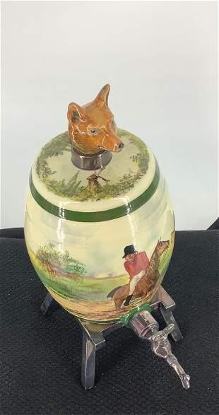 10†Royal Doulton Fox Hunt porcelain whiskey barrel