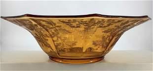 Cambridge Amber Apple bloom etch Decagon floral bowl
