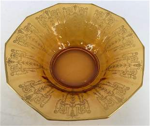 Cambridge Cleo etched Amber floral bowl with Gold rim.