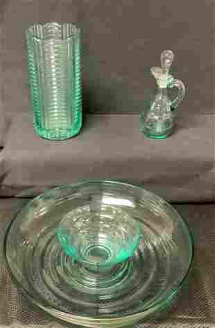 4 pieces Heisey Zircon Saturn including 8†vase,