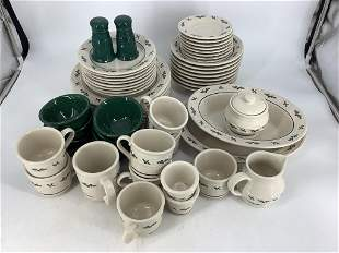 56 pieces Longaberger Christmas pottery dishes