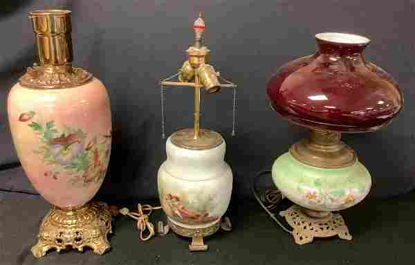 Lot of (3) lamps. 22†oil lamp no top. Used. 21â€