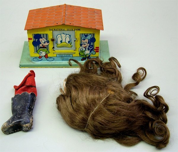 3602: LOT DOLL WIG, DOLL LEATHER SHOE & TIN 2ND NATIONA