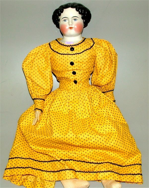 3606: CHINA HEAD DOLL W/MOLDED HAIR, CLOTH BODY & LEATH
