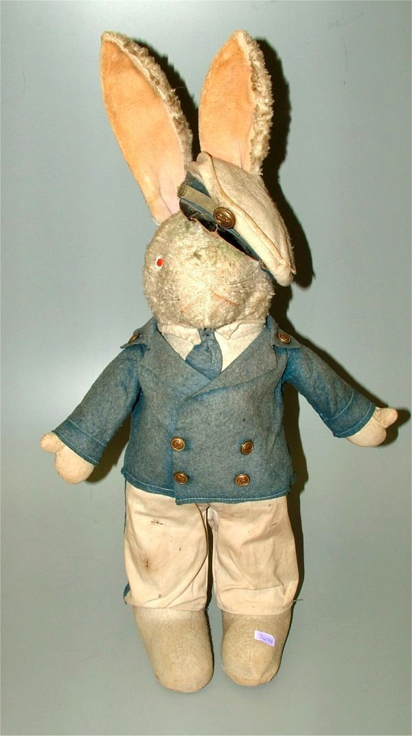 3609A: EARLY STRAW FILLED RABBIT W/SAILOR OUTFIT 25 1/2