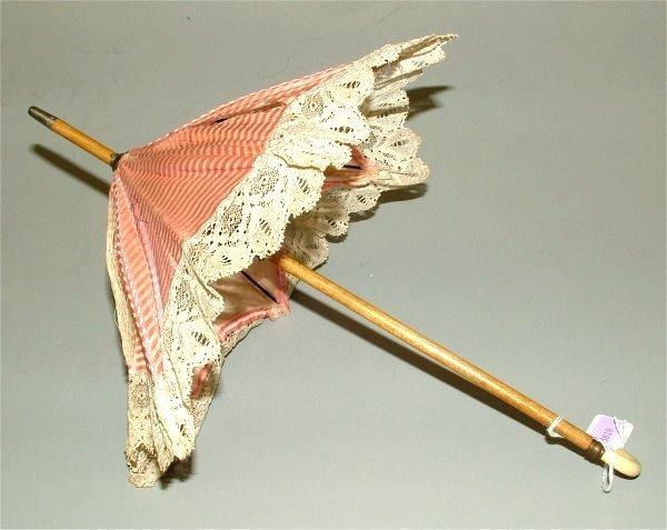 3619: VICTORIAN DOLL W/SILK & LACE PARASOL, 2 LONG TEAR