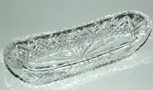 """3846: WATERFORD CRYSTAL RELISH TRAY 9 1/2""""L"""