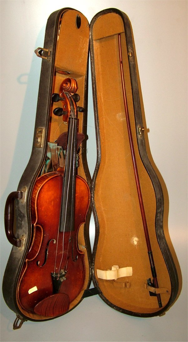 "5008: STRADIVARIUS COPY VIOLIN W/BOW IN CASE 23 1/2""L"