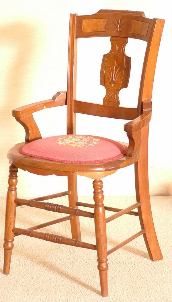 5017: WALNUT VICTORIAN HIP REST CHAIR W/NEEDLEPOINT SEA