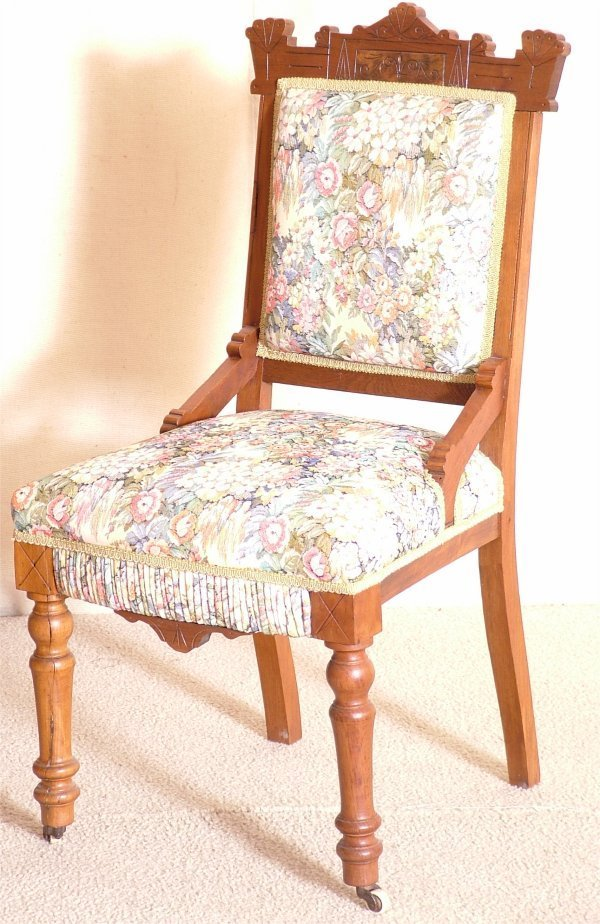 5018: WALNUT EASTLAKE VICTORIAN CHAIR W/FLORAL UPHOLSTE