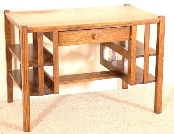 5019: OAK ARTS & CRAFTS STYLE SINGLE DRAWER DESK W/BOOK