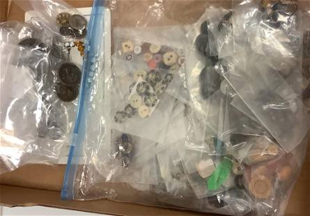 Lot of Picture buttons and a collection of antique