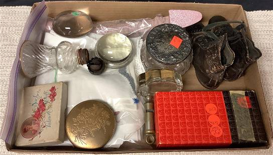 Lot of misc items including paperweights, shoe buttons