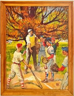 Benton Clark oil on canvas Baseball game. Signed lower