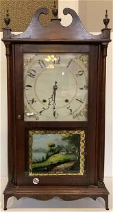 Mahogany pillar and scroll clock with reverse painted