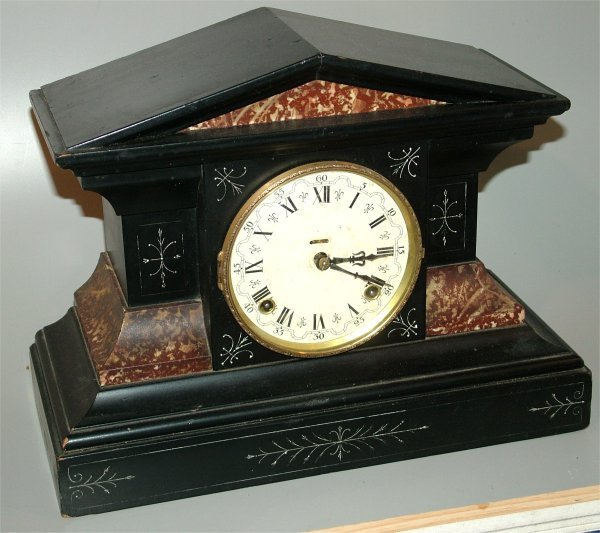 5023: INGRAHAM BLACK & FAUX MARBLE MANTEL CLOCK