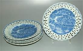 5759 SET 4 BLUE  WHITE ORIENTAL PLATES WOPENWORK EDG