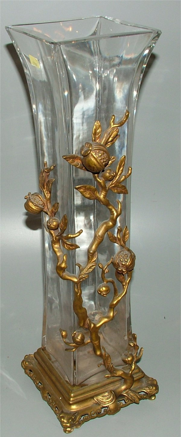 5766: LRG FRENCH CRYSTAL VASE W/ORIENTAL BRONZE TREE &
