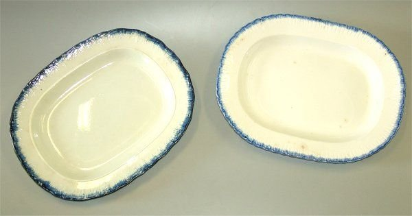 "5021A: (2) EARLY FEATHER EDGE IRONSTONE PLATTERS 15"" L"