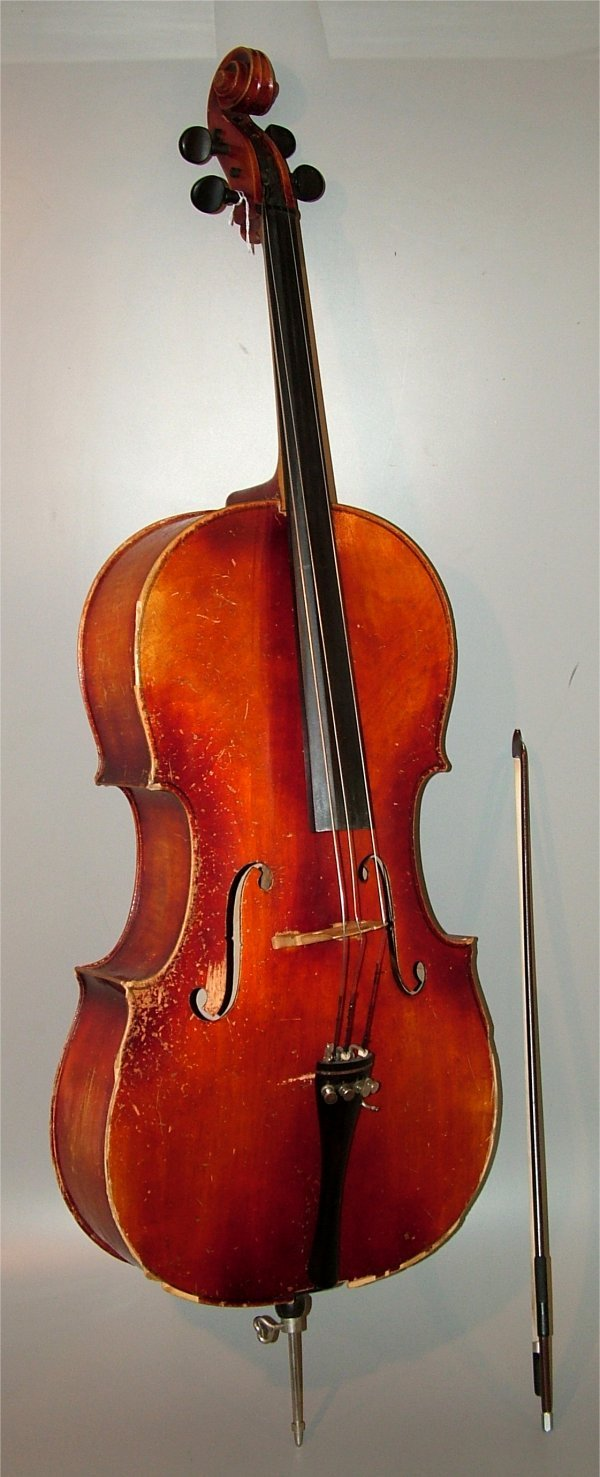 5008: CELLO DAMAGE TO CASE W/BOW & CLOTH CARRYING CASE