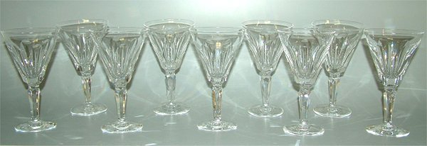 "5015: (9) WATERFORD GOBLETS 7""H 4 W/DAMAGE (2 RIM FLAKE"
