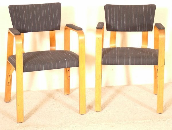 5016: PR THONET MOLDED PLYWOOD OPEN ARM CHAIRS W/BLACK