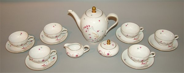 5020: 15 PC ROSENTHAL BAVARIAN CHINA TEA SET W/PINK FLO