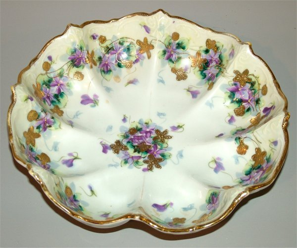 5021: CHINA SCALLOPED BOWL W/VIOLETS & GOLD DECORATION