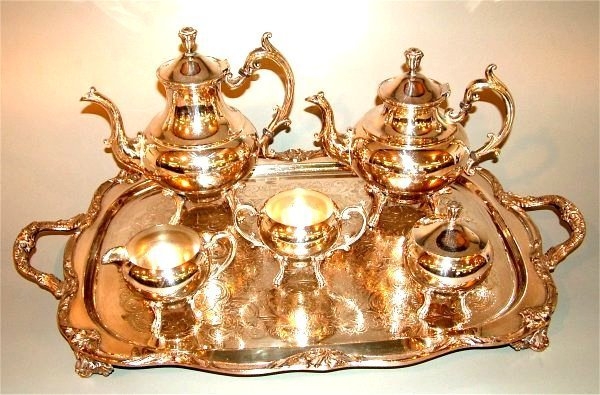 5022: VICTORIAN SILVER PLATE 6 PC TEA SET INCL TRAY, TR