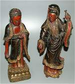 """5608: PR PAINTED CARVED WOODEN ORIENTAL STATUES 12 1/2"""""""