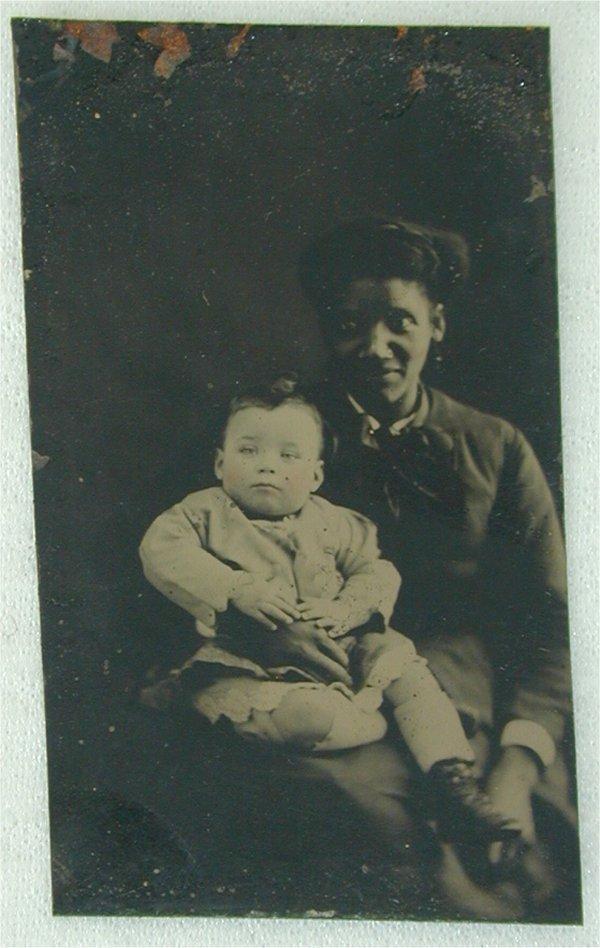 5077: EARLY TIN TYPE BLACK WOMAN W/WHITE BABY