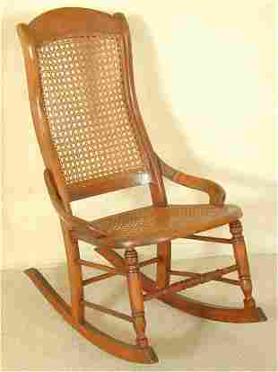 MAPLE CANED SEAT & BACK SEWING ROCKER