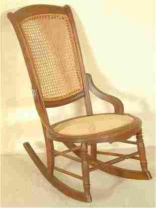 WALNUT CANED SEAT & BACK SEWING ROCKER
