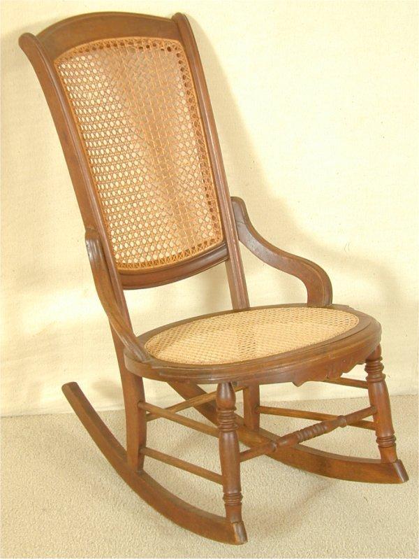 5080: WALNUT CANED SEAT & BACK SEWING ROCKER