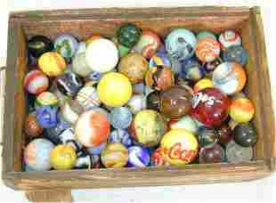 LOT HAND & MACHINE MADE MARBLES IN WOOD