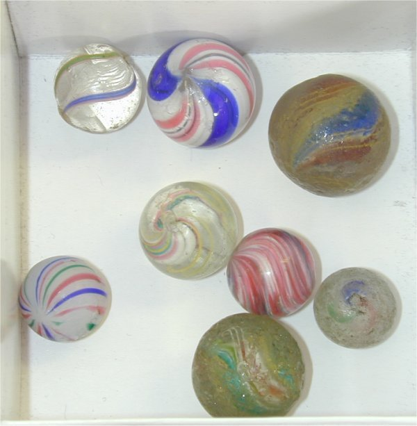 """135M: LOT (8) SWIRL MARBLES 1/2"""" TO 3/4"""""""